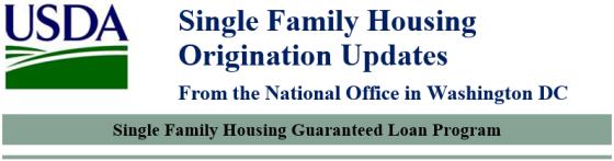 USDA Origination Updates